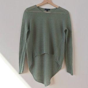 Eileen Fisher hemp blend green hi lo sweater